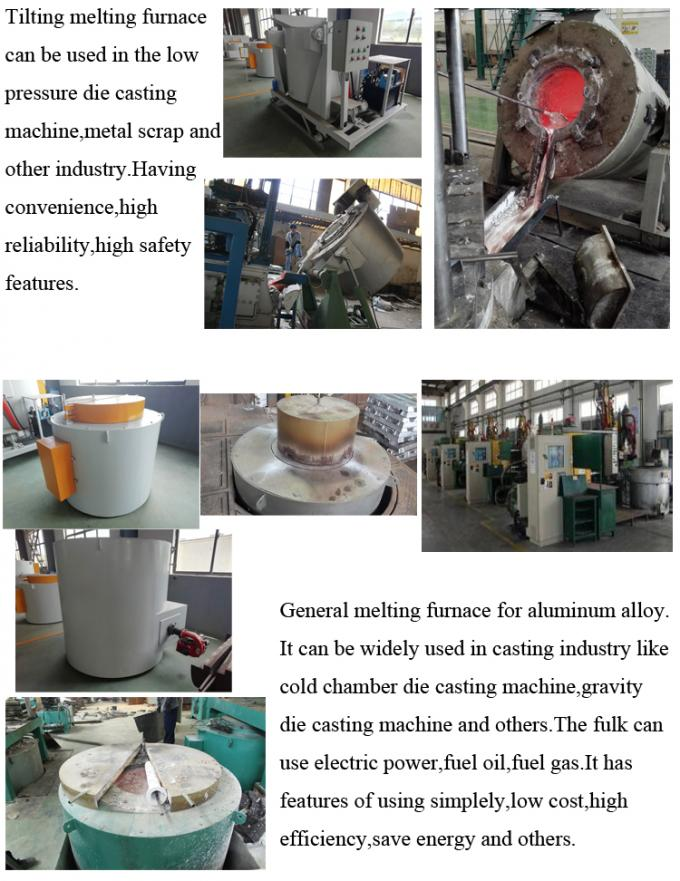 Hydraulic Tilting Aluminum Melting Furnace High Efficiency For Casting Industry